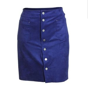 Knee length faux suede snap button skirt